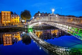города, дублин , ирландия, река, мост, огни, вечер