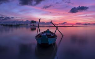 закат, сети, облака, небо, море, лодка