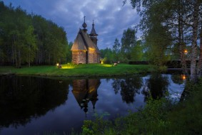 озеро, лес, город, церковь, храм, здание