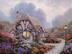 рисованное, thomas kinkade, дорожка, сад, фонари, цветы, коттедж, дом