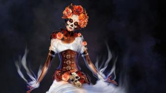 Hasta la muerte, цветы, женщина, наряд, грим