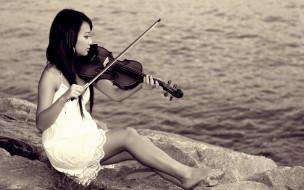скрипка, девушка