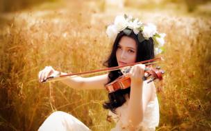 скрипка, девушка, азиатка
