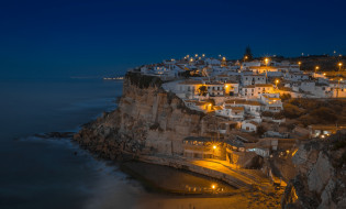 дома, ночь, панорама, море