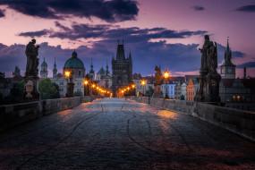 мост, карлов, огни, статуи, ночь