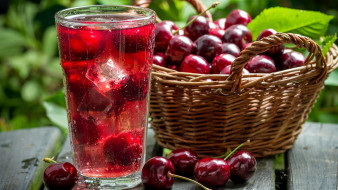 компот, корзинка, ягоды, вишня