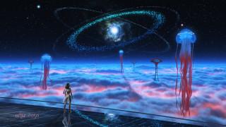 облака, медуза, арт, звезды, космос, фантастика, фантазия, девушка, башня, человек