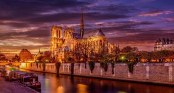 город, Париж, Notre Dame, Франция