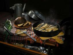 рыба, натюрморт, еда, хлеб, лук