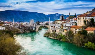 mostar bosnien, города, мостар , босния и герцеговина, простор