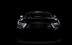Ford Mustang GT, темный фон, ракурс