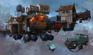 фэнтези, транспортные средства, постройки, serie, universo, chatarra, платформа, trains, транспорт