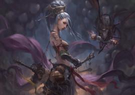 фэнтези, красавицы и чудовища, воительница, девушка, чудик, оружие, существо, chin, likhui