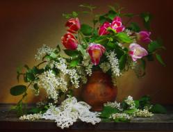 цветы, букеты,  композиции, скатерть, ваза, тюльпаны, весна