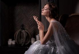 настроение, девушка, поза, невеста, камин, платье