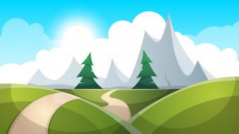 Лес, Горы, Тропинка, Рисунок, Деревья, Рендеринг