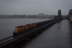 поезд, мост, тепловоз, wallhaven