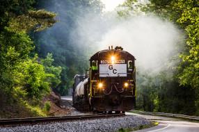 железная дорога, тепловоз, деревья, wallhaven, состав, шоссе