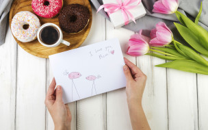 праздник, coffee, family, открытка, floral, gift, тюльпаны, Love, flowers, box, paper, Mothers day