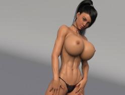 эро-графика, 3д-эротика, девушка, грудь, фон, взгляд