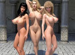 эро-графика, 3д-эротика, фон, грудь, взгляд, девушки