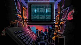 Двоичный код, Synth pop, Неон, Мониторы, Код, Компьютер, Retrowave, Synth, Synthwave, Darkwave, Synthpop, Компьютерная, Синти-поп, Electronic
