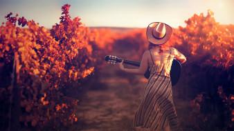 шляпа, девушка, гитара, растения