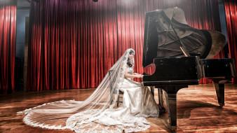 занавес, фата, платье, сцена, девушка, рояль