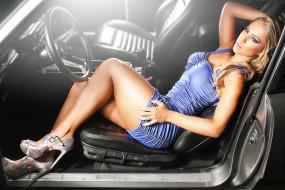 кожаное кресло, автомобиль, мини-платье, шпильки, фигура, салон, модель, блондинка