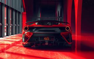 rear view, red garage, red supercar, tuning 488 GTB, pogea racing fplus corsa, 2018, exterior, ferrari 488 gtb, ферарри, суперкар, вид сзади