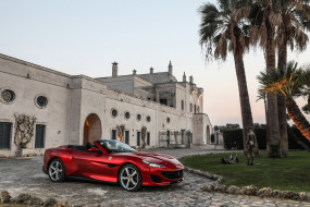 дорожка, Portofino, кабриолет, пальмы, особняк, красный, скульптура, Феррари