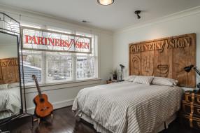 интерьер, спальня, окно, гитара, кровать