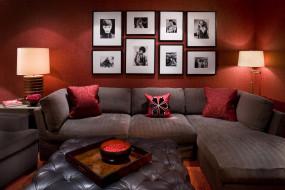 подушка, диван, комната, лампа, фотографии