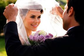 невеста, новобрачные, фата