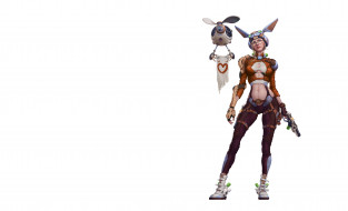 Девушка-зайчик, минимализм, фантастика, дроид, арт