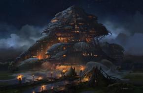 Marsh Fortress, aaron limonick, фэнтези, арт