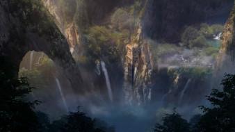 фэнтези, пейзажи, solitary, tower, julian, calle, горы, водопад, деревья, скалы, строение