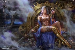 фэнтези, девушки, трон, эротика, девушка, поза, черепа, сидит, магия, арт, стимпанк