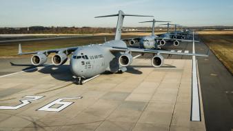 ввс сша, аэродром, военная авиация, военно-транспортный, boeing, c-17, globemaster 3