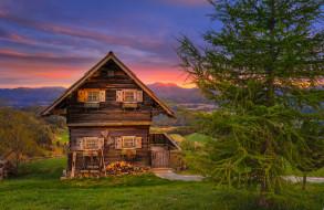 города, - здания,  дома, закат, леса, изба, зелень, дом, вечер, деревья, трава, австрия, горы, поля, magdalensberg