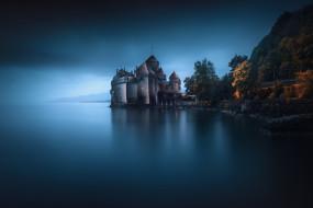 вечер, озеро, осень, замок