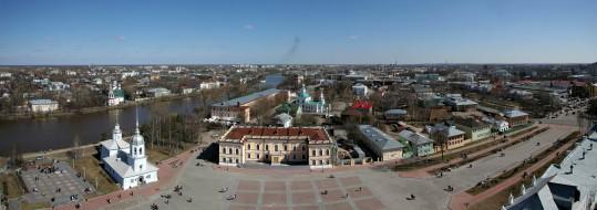 панорама, россия, город, вид сверху, вологда