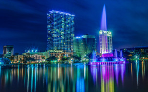 орландо, ночь, городские огни, флорида, сша, небоскребы
