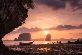 Hong Islands, закат, Thailand, лодка, скалы, небо, Тайланд, море, Krabi