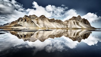 обои для рабочего стола 2000x1125 природа, реки, озера, vestrahorn, islande, iceland, reflection
