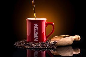 бренды, nescafe, nescafе, кофе, совок, фон, отражение, кружка, кофейные, зёрна