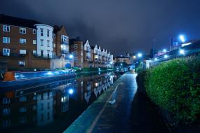 катера, огни, Birmingham, Англия, дома, кусты, канал, ночь, вода, отражение, фонари, река