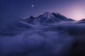 вершина, облака, ночь, США, туман, луна