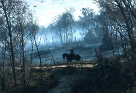 The Witcher 3  Wild Hunt, лес, плотва, лошадь, Геральт, Ведьмак, деревья, дом