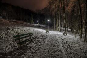 природа, парк, зима, ночь, скамья